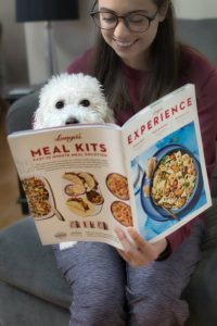 Bichon reading with owner, about raw dog food