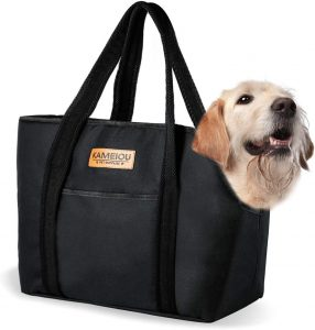 small dog carrier with dog in it