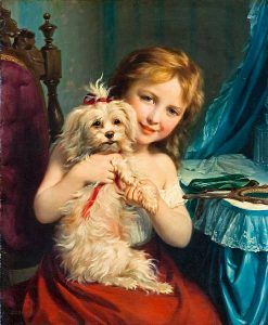 painting of young girl with bichon frise