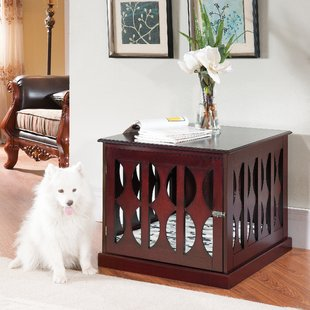 Furniture dog crate with white dog