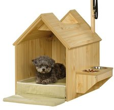 Dog arthritis products, indoor doghouse with raised bowls