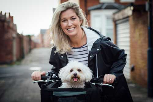 Bichon Frise in bicycle carrier with pretty young woman
